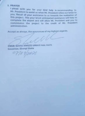 David Umahi's letter