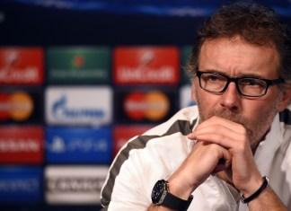 Paris Saint-Germain's coach Laurent Blanc gives a press