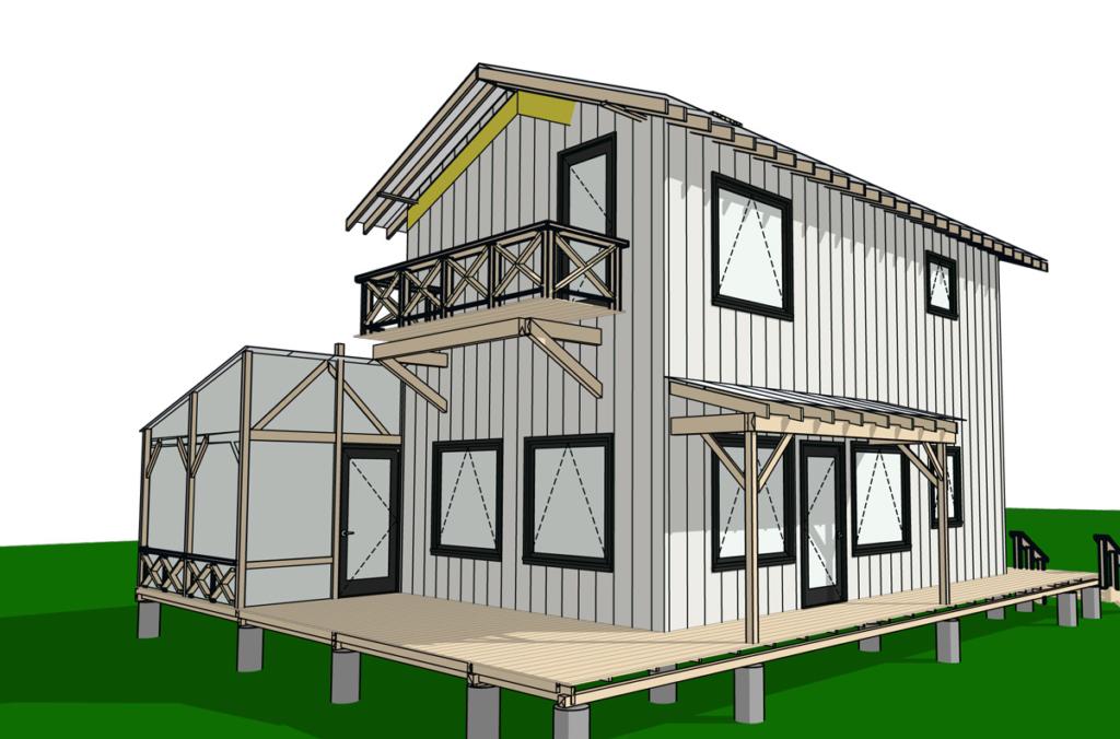 3D rendering cabin santa fe architect Gayla Bechtol