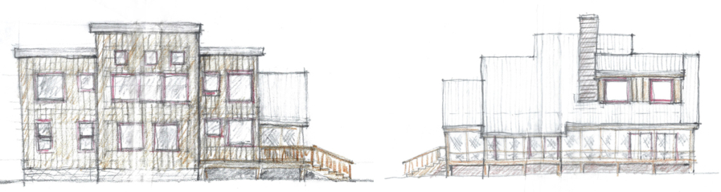 sketches for design ideas cabin in woods colorado