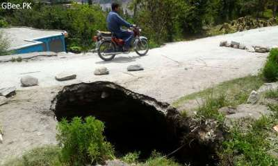 Massive sinkhole appears in Karimabad Hunza