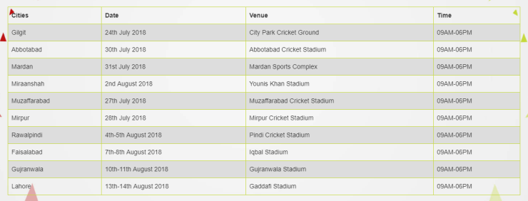 Lahore Qalandars Trials schedule