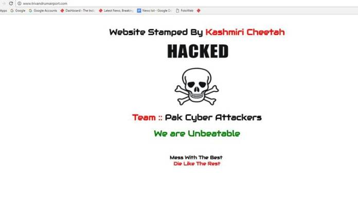 Pakistani Cyber Attackers Hacked Thiruvananthapuram airport Website