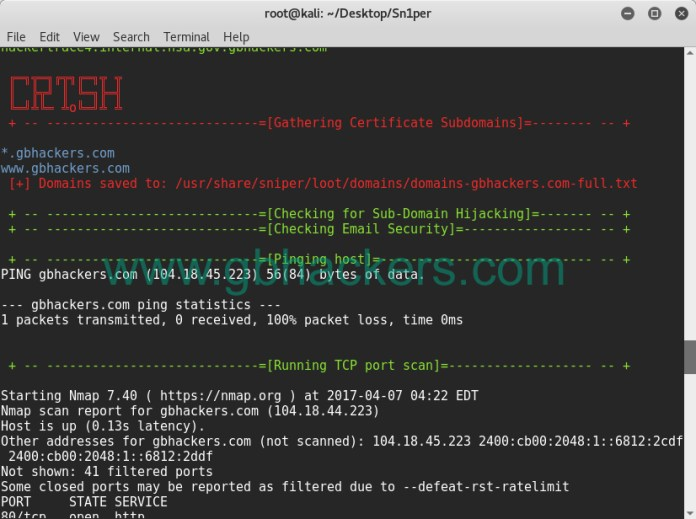 - sniper14 - Automated Information Gathering & Penetration Testing Tool