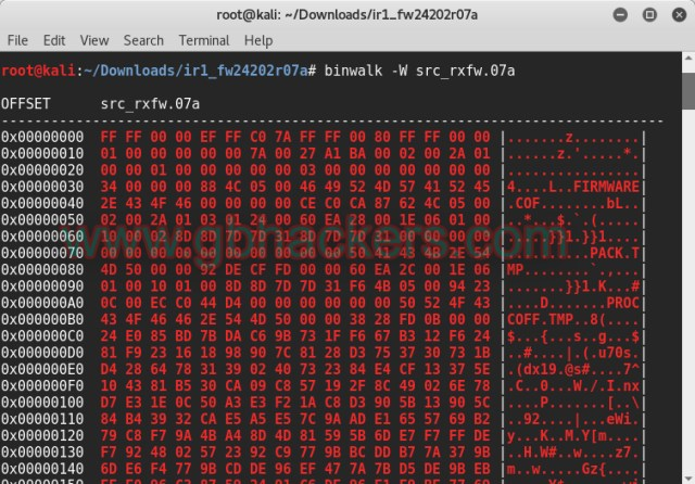 Analyzing embedded files and executable code with Frimware Images