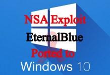NSA Malware EternalBlue Port into Microsoft Windows 10