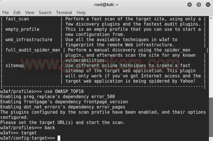 Scanning for OWASP Top 10 Vulnerabilities with w3af
