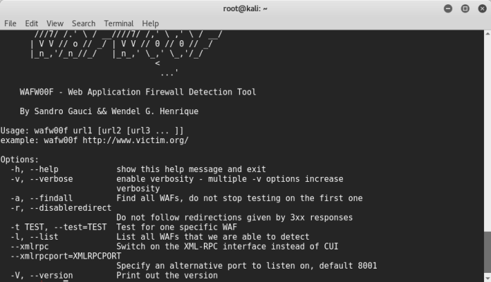 - wf1 - Web Application Firewall detection using Kali Linux- WAFW00F
