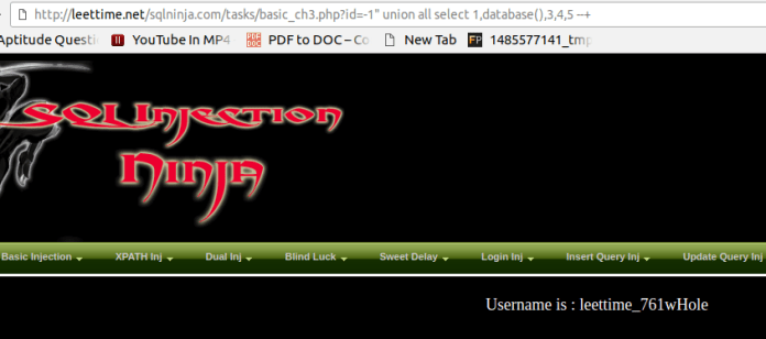 - ty - Manual SQL Injection With Double quotes Error Based String Method