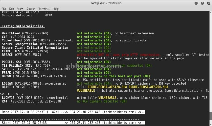 testssl.sh  - 13 - Tool to check TLS/SSL vulnerabilities and Ciphers