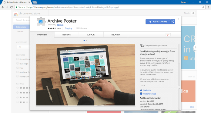 Archive Poster  - Archive Poster - Archive Poster Chrome Extension Silently Mining CryptoCurrency