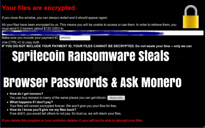 Spritecoin Ransomware  - pd6Jf1516841953 - Spritecoin Ransomware Steals Passwords & Asks Monero to Decrypt Files