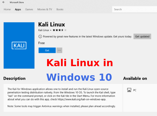Powerful Penetration Testing Distro Kali Linux in windows 10