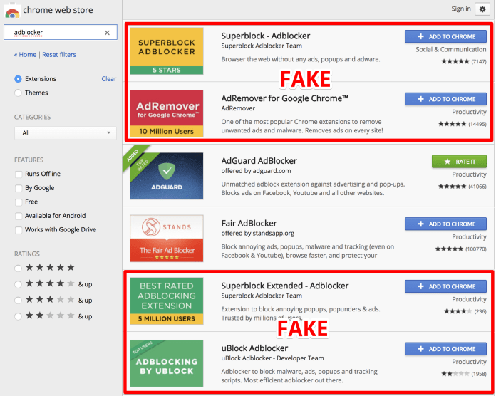 Fake Ad Blockers.  - fake adblockers chromewebstore - More than 20,000,000 are Tricked into Installing Fake Ad Blockers