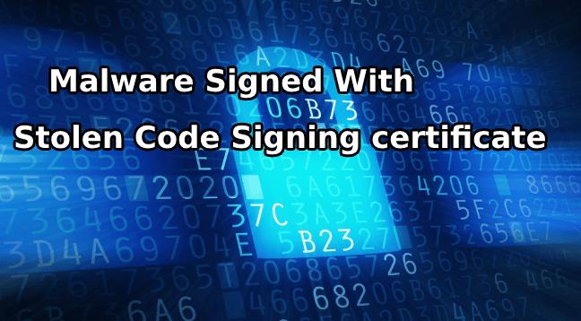 Stolen Code Signing Certificate