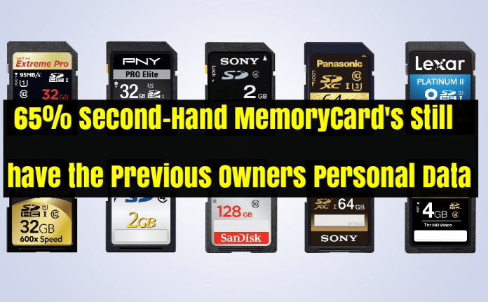 - memorycard - 65% Second-Hand Memory card's Still have the Previous Owners Personal Data