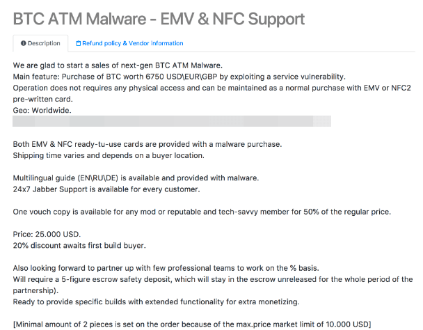- BTCATM 2 - Criminals Selling Malware's Targeting Bitcoin ATMs in the Dark Web Forums