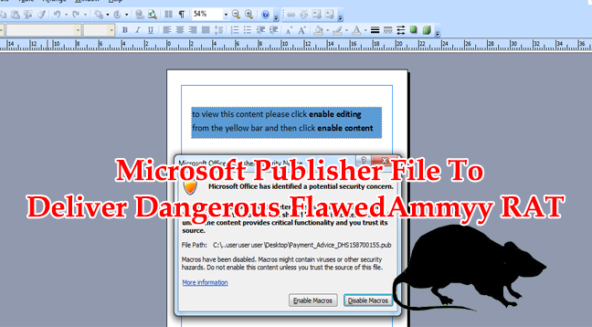 microsoft publisher file to deliver dangerous flawedammyy rat