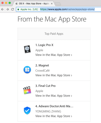 """- applePage - #1 Adware Removal Mac Store App """"Adware Doctor"""" Stealing User Data"""