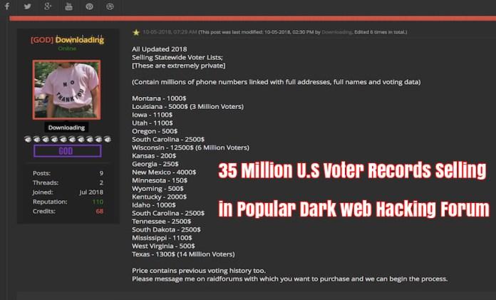 U.S Voter Records  - U - 35 Million U.S Voter Records Selling in Popular Dark web Hacking Forum