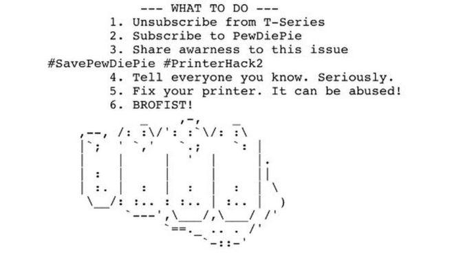 - print - 100,000 Printers Hacked Again by Hackers to Promote PewDiePie