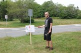 Before the conference, Josh putting up signs.
