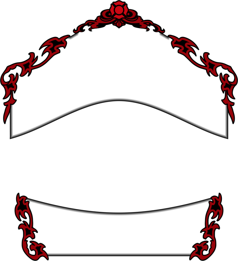White Rockers, Red Trim w/ Black Outline