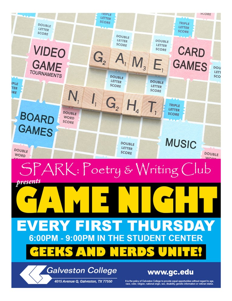 Spark Poetry and Writing Club Game Night, Every First Thursday