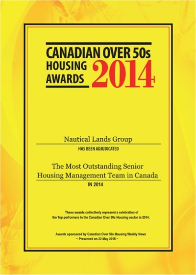 Cnadian Over 50s Housing Award 2014 Nautical Lands Group