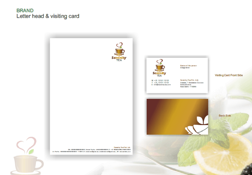 Tea Serenity Tea branding designing logo business card envelope, stationery cover visiting