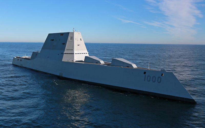 The future USS Zumwalt (DDG 1000) is underway for the first time conducting at-sea tests and trials in the Atlantic Ocean Dec. 7, 2015. U.S. Navy Photo