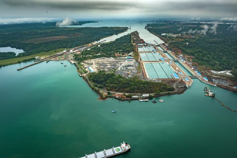 The new Third Set of Locks for the expanded Panama Canal, pictured right, with the existing pictured on left in May 2016. Credit: Panama Canal Authority