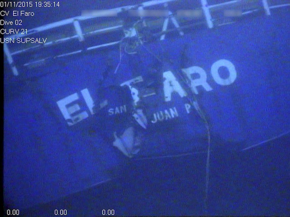 stern of the El Faro as seen from underwater ROV