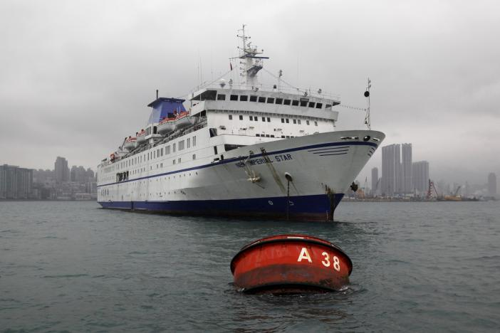 The New Imperial Star casino cruiser is seen at Victoria Harbour in Hong Kong