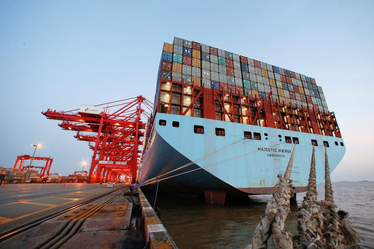 The Maersk's Triple-E giant container ship Maersk Majestic, one of the world's largest container ships, is seen at the Yangshan Deep Water Port, part of the Shanghai Free Trade Zone, in Shanghai, China, September 24, 2016. Picture taken September 24, 2016. REUTERS/Aly Song