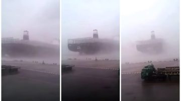 WATCH: Giant 14,000 TEU Containership Breaks Free During Super Typhoon Meranti