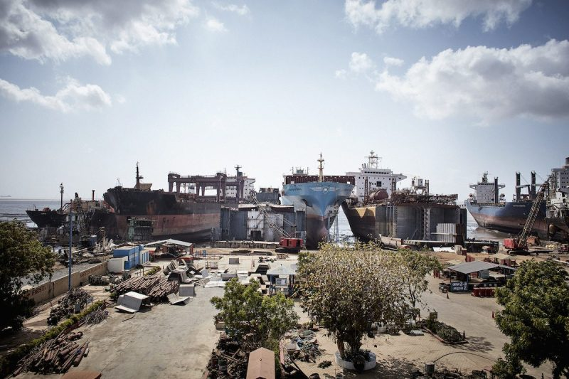 A Maersk Line containership seen alongside other ships a Hong Kong Convention-approved ship recycling facility in Alang, India. Photo credit: Maersk