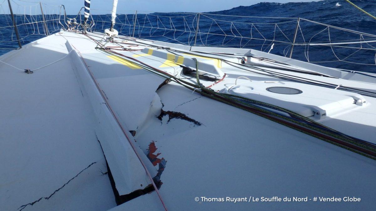 Photo shows damage to Thomas Ruyant's boat. Photo: Vendee Globe
