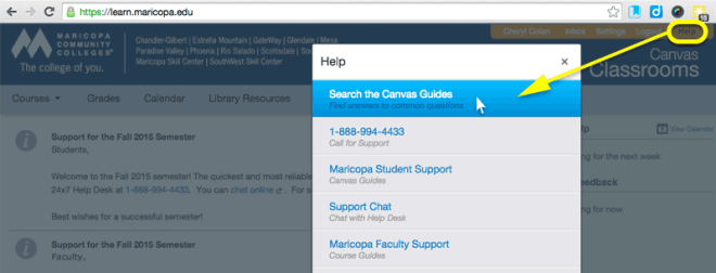 Choose Help > Canvas Guides from within a Canvas Course.