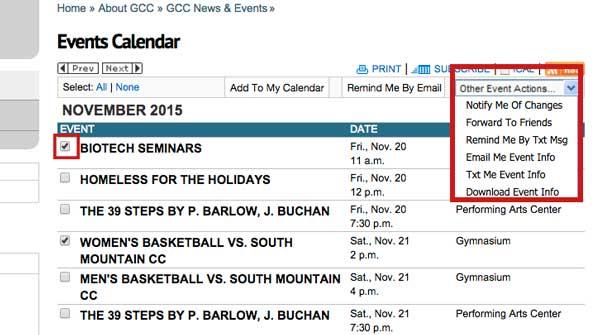 screen shot of gccaz.edu website event calendar