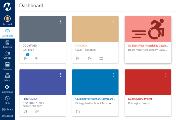 Canvas dashboard screenshot showing a course tile with an image assigned