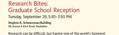 9/23: Research Bites Grad School Reception @NYPL