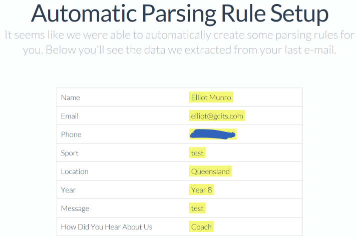 Automatic Mail Parsing Rule Set Up