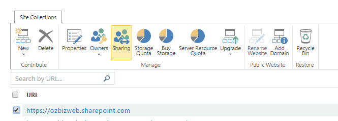 Change site collection sharing settings