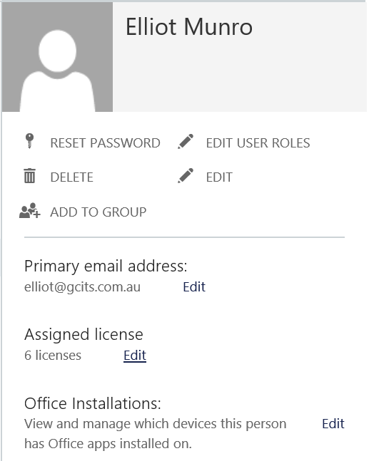 Click Edit To Assign Office 365 License