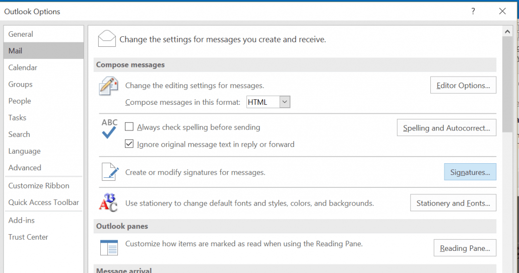 Click Signatures Under Mail in Options in Outlook