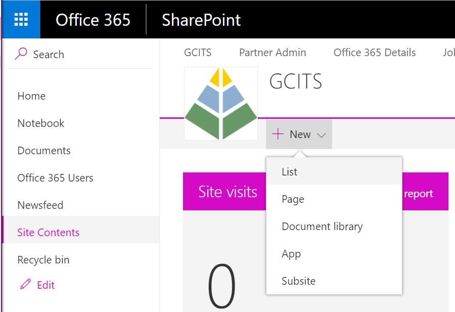 Create A New SharePoint List