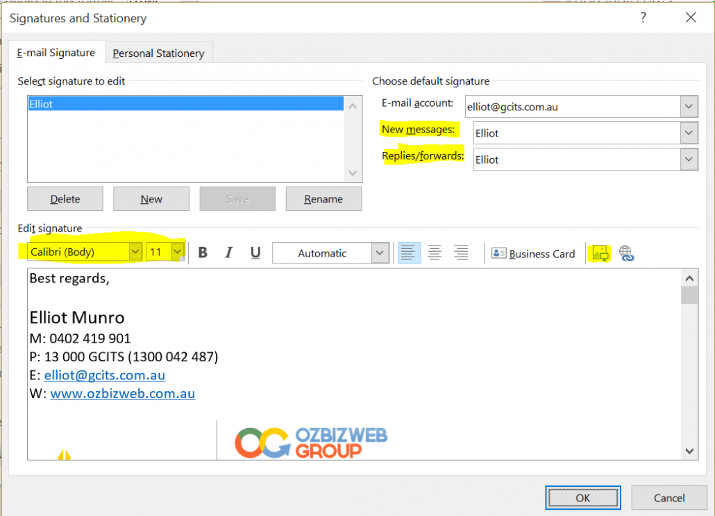 Customise Your Outlook Signature