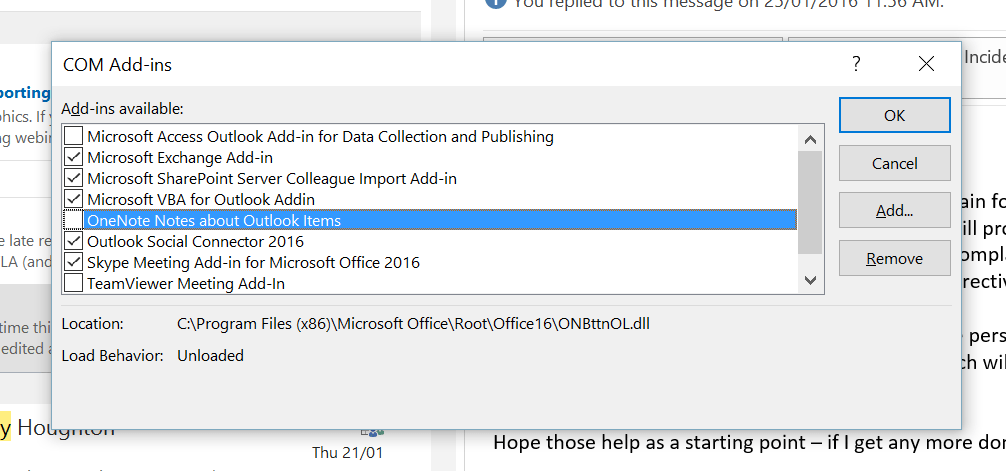 Cannot enable OneNote Notes about Outlook Items - GCITS